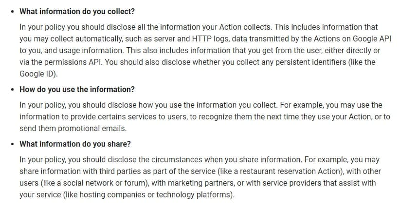 Actions on Google Privacy Policy Guidance: What information to include in Privacy Policy