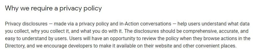 Actions on Google Privacy Policy Guidance: Why we require a Privacy Policy section