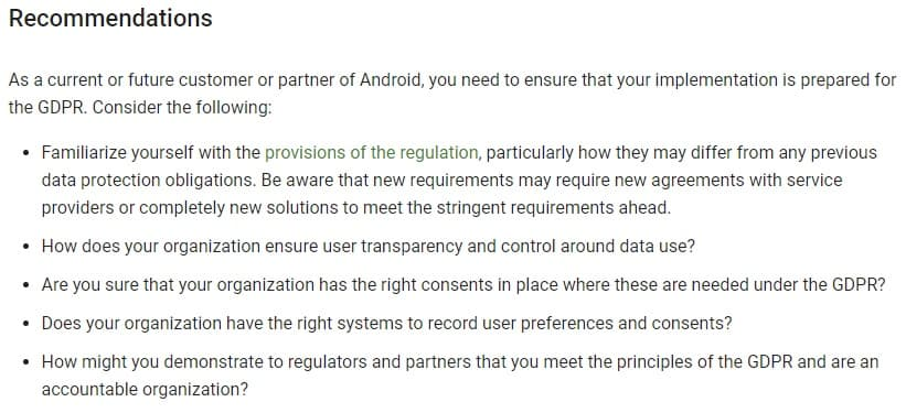 Android Enterprise: Recommendations for GDPR compliance