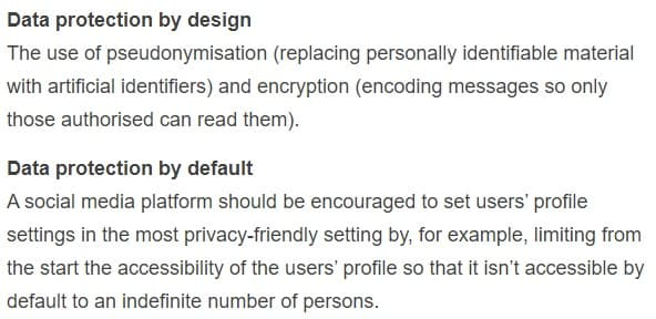 European Commission: Definitions of Data protection by design and by default