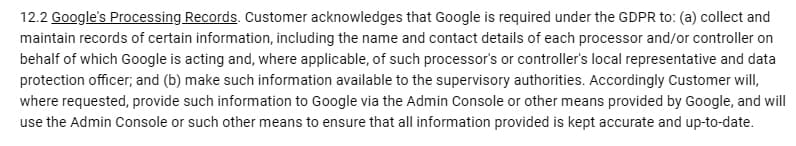 Firebase Data Processing and Security Terms: Google's Processing Records clause