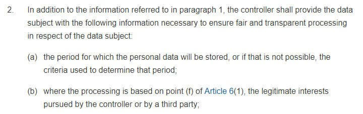 GDPR Info: Article 6 Section 1 - Information to be Provided Where Personal Data Have Not Been Obtained From the Data Subject