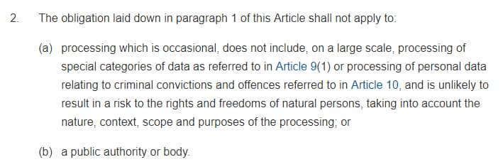 GDPR Info: Article 27 Section 2 - Representatives of controllers or processors not established in the Union