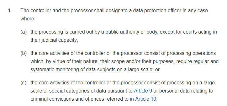 GDPR Info: Article 37 Section 1 - Designation of the Data Protection Officer