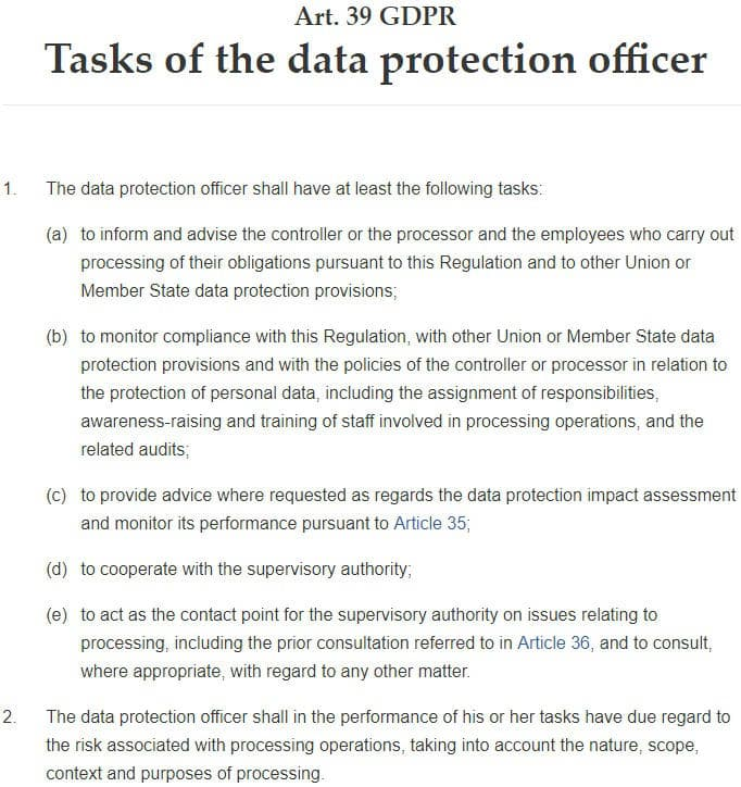 GDPR Info: Article 39 - Tasks of the Data Protection Officer
