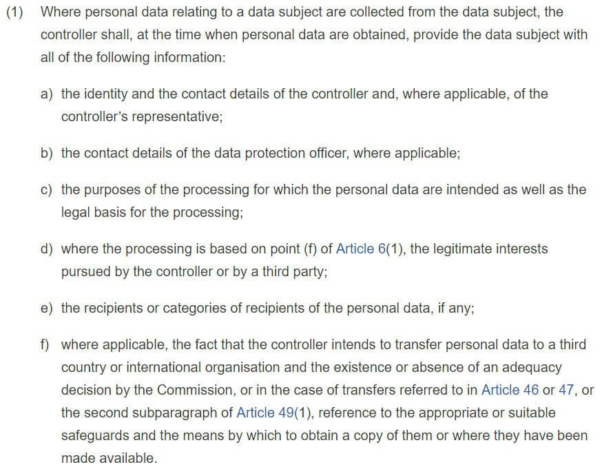 GDPR Info: Article 6 Section 1 - Information to be Provided Where Personal Data are Collected From the Data Subject