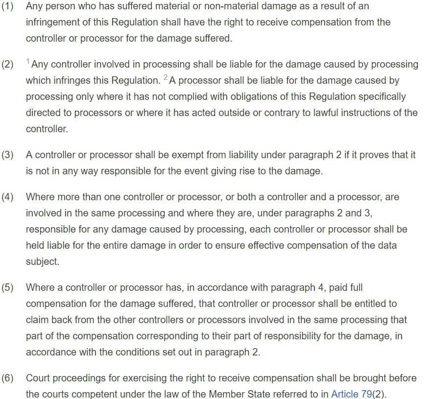 GDPR Info Article 82: Right to Compensation and Liability