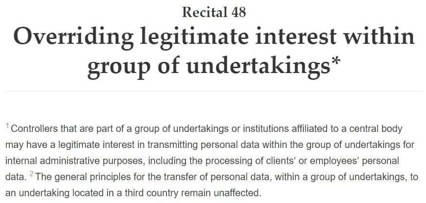 GDPR Info: Recital 48 - Overriding Legitimate Interest Within Group of Undertakings