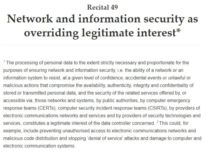 GDPR Info: Recital 49 - Network and Information Security as Overriding Legitimate Interest