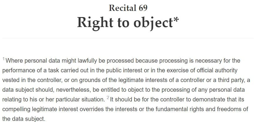GDPR Info: Recital 69 - Right to Object