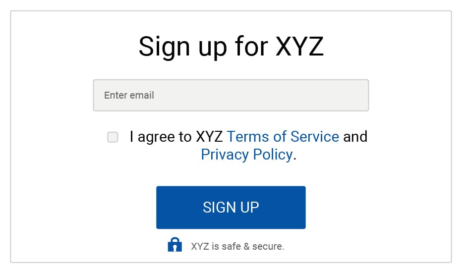 Generic example: Email sign-up form with checkbox to agree