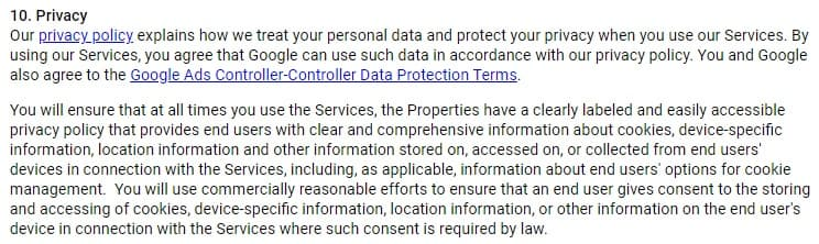Google AdSense Terms of Service: Privacy clause