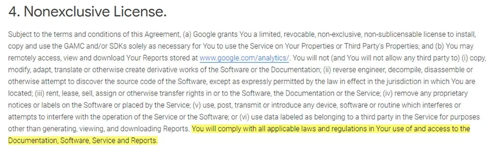 Google Analytics Terms of Service: Nonexclusive License clause