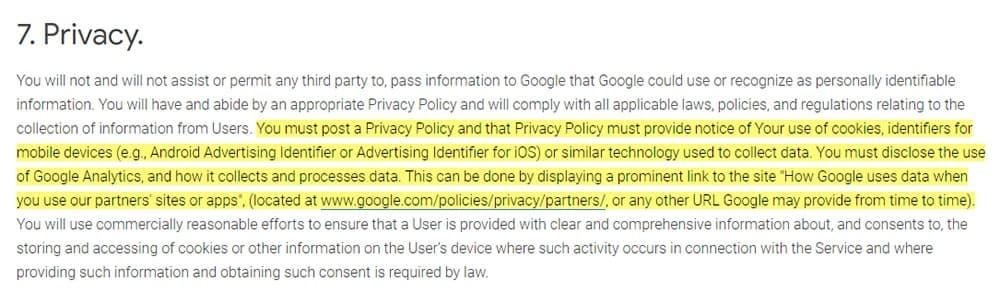 Google Analytics Terms of Service: Privacy clause