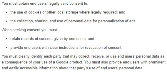 Google EU User Consent Policy: Consent requirements