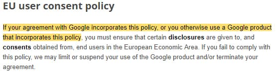 Google EU User Consent Policy: Intro section