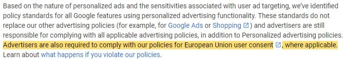 Google Personalized Advertising Policies Help: EU User Consent Policy section