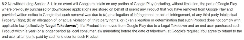 Google Play Developer Distribution Agreement: Clause about app take-downs and refunds