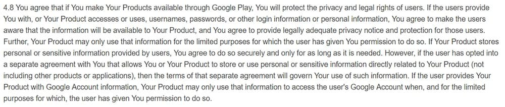 Google Play Developer Distribution Agreement: Clause about protecting data and limiting data use
