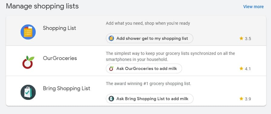 Screenshot of shopping list apps on Google Play