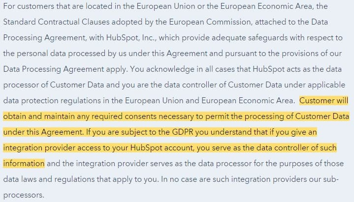Hubspot Customer Terms of Service: EU Data Processing Clause - GDPR consent section