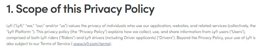 Lyft Privacy Policy: Scope of Privacy Policy clause