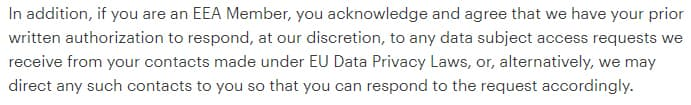 MailChimp Terms of Use: Excerpt of Compliance with Laws clause - EEA Members