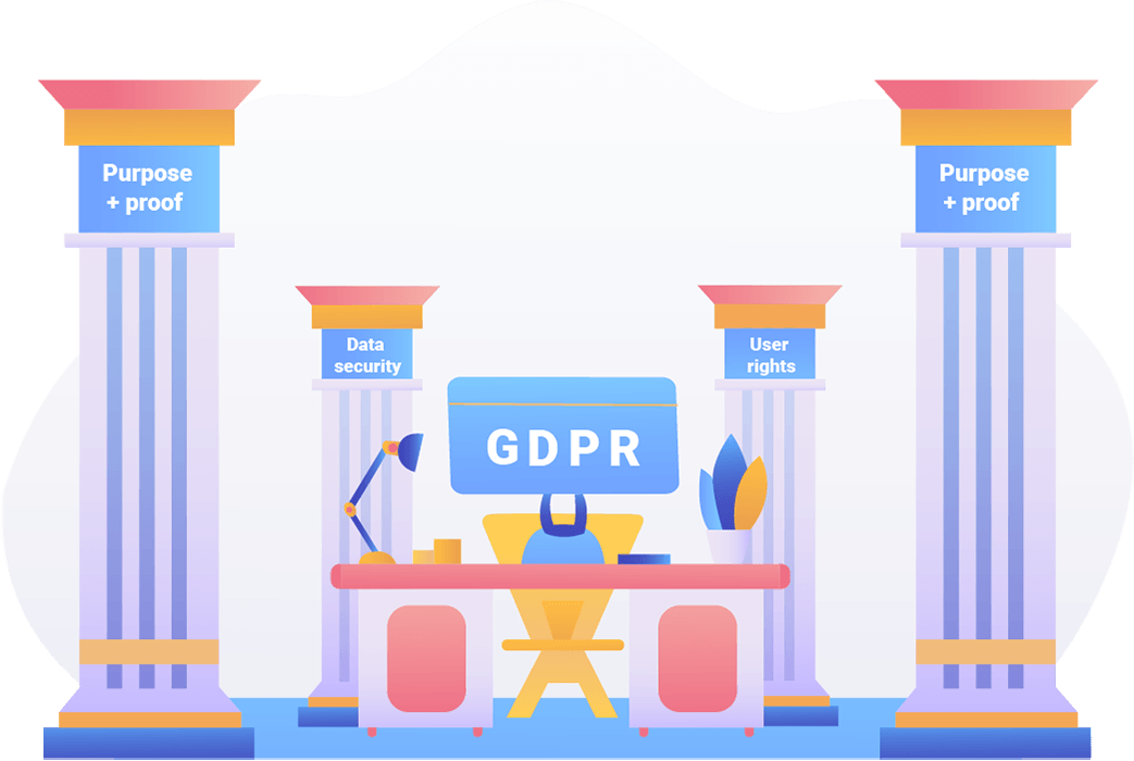 TermsFeed illustration of a desk and pillars to represent pillars of GDPR