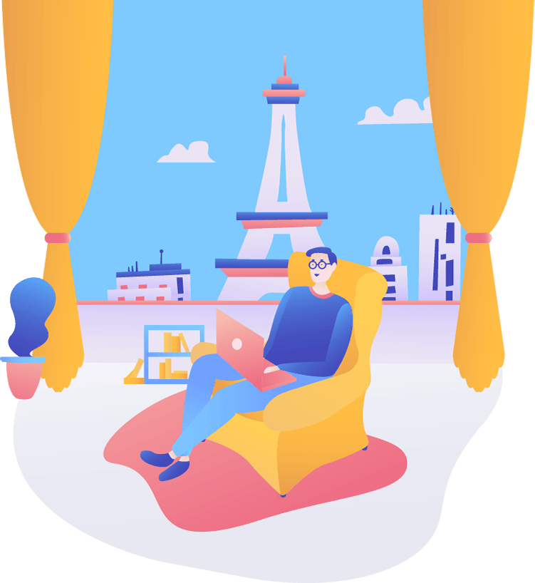 TermsFeed illustration of a man in a chair with Eiffel Tower outside window