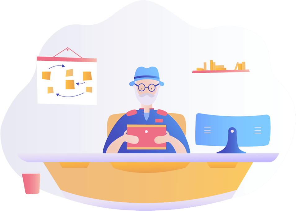 TermsFeed illustration of a man reading at a desk version 1, the Data Controller