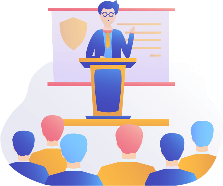 TermsFeed illustration of a man giving a presentation