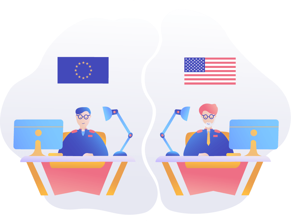 TermsFeed illustration of men at desks in the EU and USA