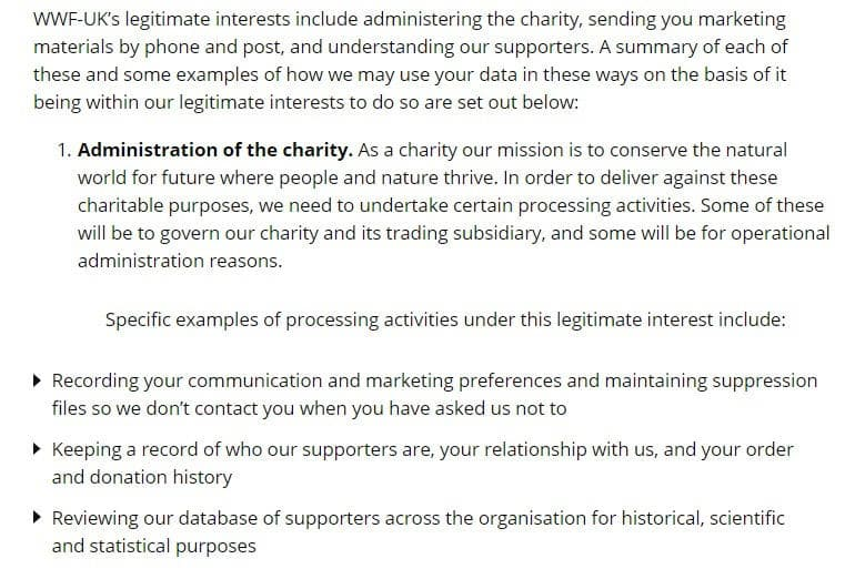 WWF UK Privacy Policy: Legitimate Interests clause