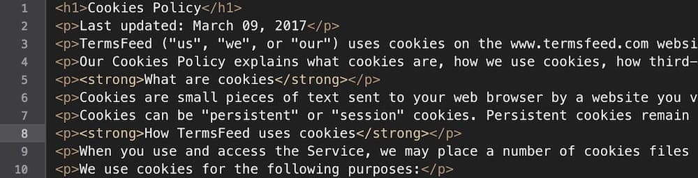 Example of a generated Cookies Policy in HTML format