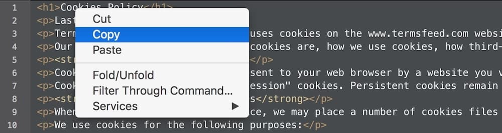 Right-click > Copy to copy the generated Cookies Policy