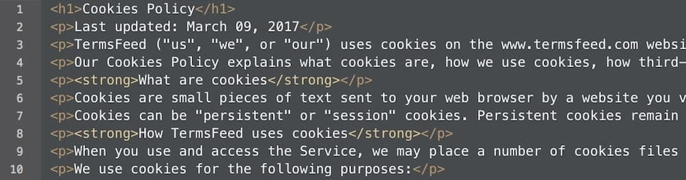 Select the entire HTML of the generated Cookies Policy