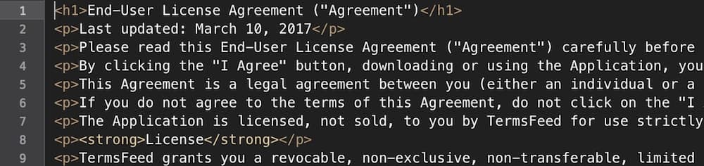 Generated EULA in HTML format