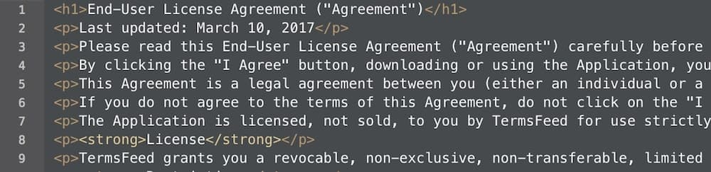 Selected all HTML of the generated EULA