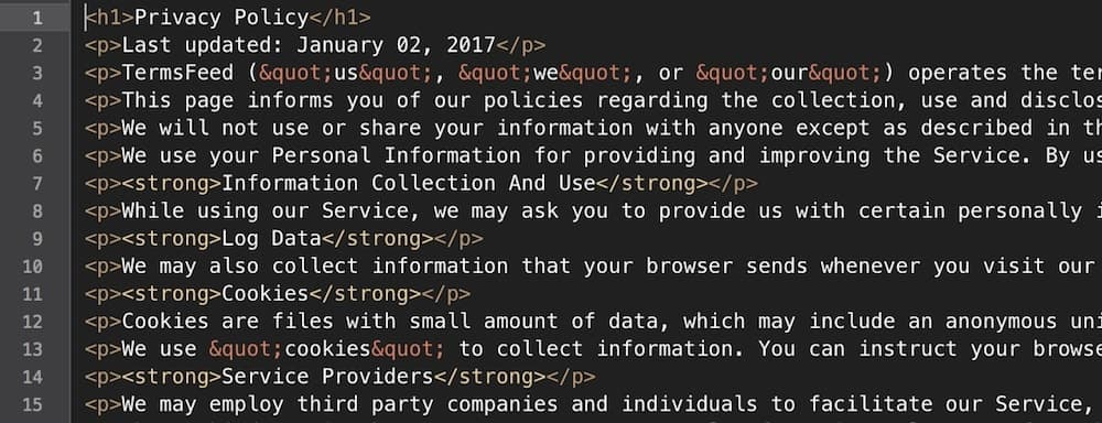Example of generated Privacy Policy in HTML