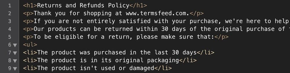 Example of HTML format of a generated Return & Refund Policy