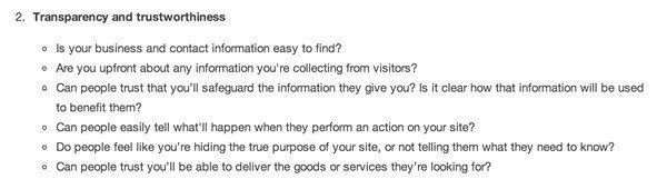 Google AdWords Guidelines on Trust & Transparency