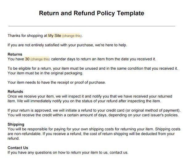Sample return policy for ecommerce stores termsfeed for Company email policy template