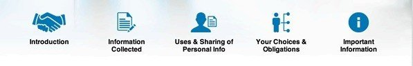 LinkedIn Your Privacy Matters: Section icons