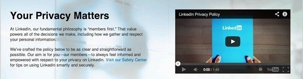 LinkedIn Your Privacy Matter: Above fold screenshot
