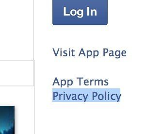 Example of Privacy Policy link in Facebook app