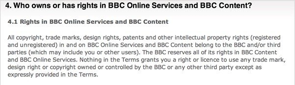 BBC Terms of Use: Who owns or has rights