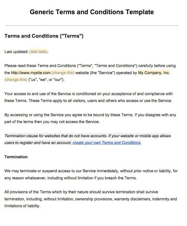 Example of Terms and Conditions - Screenshot
