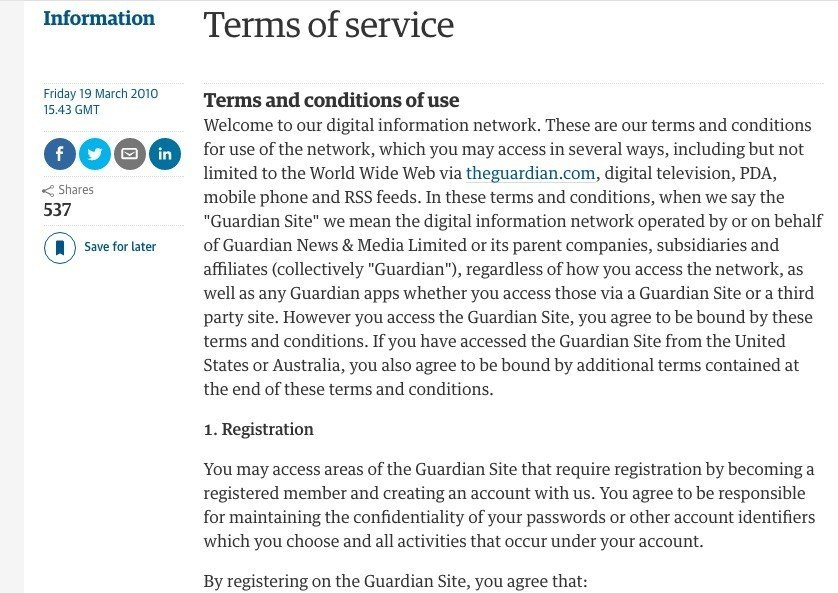 Sample terms and conditions template termsfeed screenshot of the guardian terms and conditions platinumwayz
