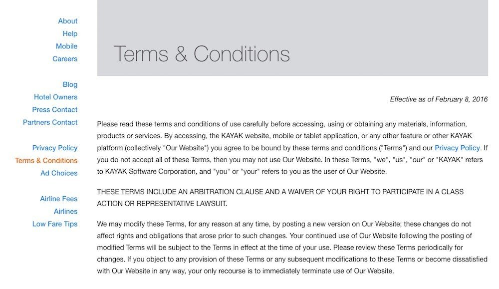 Sample terms and conditions template termsfeed screenshot of kayak terms conditions page friedricerecipe Choice Image