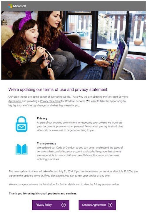 Microsoft 2014 email on Privacy & Service agreement changes
